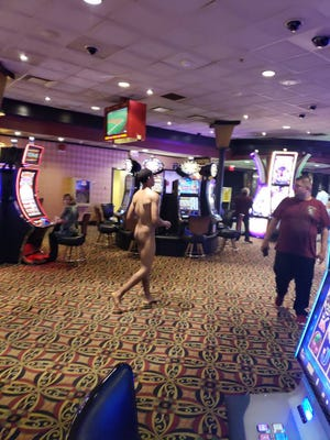 This photo shows a man arrested Tuesday night after causing a disturbance and running around DiamondJacks Casino in the nude.