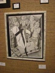 Marty Jean Pettit's artwork hangs in a local gallery.