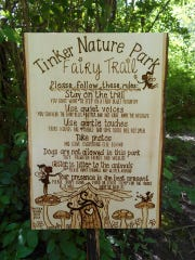 The entrance to the Fairy House Trail at the Tinker Nature Park in Henrietta. The free trail boosts over two-dozen little houses said to be inhabited by fairies.