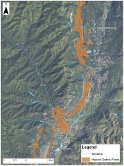 This map illustrating potential flood zones in the 416 Fire zone near Durango was released in July by La Plata County, Colorado, officials.