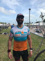Tallahassee resident Patrick Slevin after competing in a 70.3-mile Ironman in Miami.