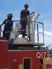 Oshkosh Fire Lt. Scott Krause looks at the seagull