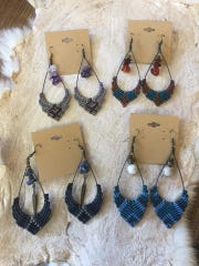 Macrame and bead earrings for sale at The Forest Faire.