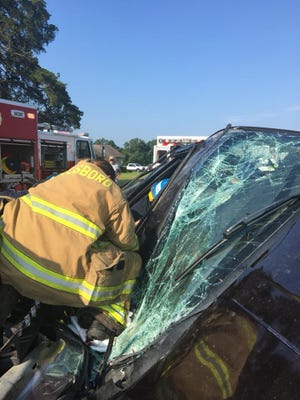 The Millsboro Fire Company and Delaware State Police responded to a two-vehicle crash that the intersection of Phillips Hill Road at Cross Keys Road.