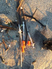Syringes that washed ashore in Deal and were collected by Deal Police on Friday morning.