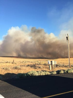 A new wildfire burning near the Deschutes River Thursday evening.
