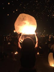 Lanterns lit up the sky over the York Fairgrounds on Saturday night.