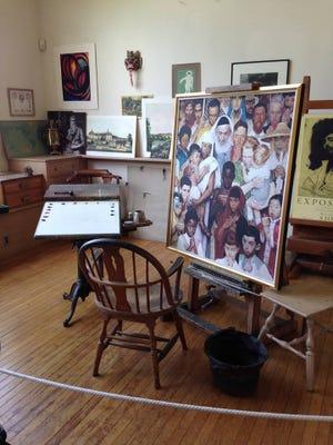 Illustrator-painter Norman Rockwell's studio in Massachusetts just as he left it when he died in 1978.