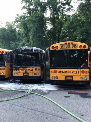 Three buses caught fire in an Armonk bus lot.