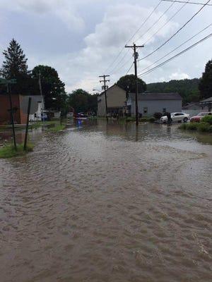 Flash flooding on Dean Street in Deposit Tuesday evening.
