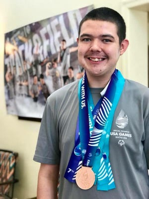 Amanda Steele's son Jordan, 18, plays 10 sports annually outside of school and competed in the Special Olympics Winter Games.