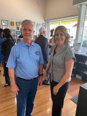 Craig Curry, a candidate for Marion County Commission District 1, announced he has  tested positive for COVID-19. In this picture, taken on June 25, about five days before he got sick, Curry stands with new Superintendent of Schools Diane Gullett, who says she is symptom free.