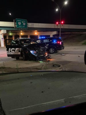 Photos shared online of a crash between two Cuyahoga Falls police cruisers. [Submitted photo}