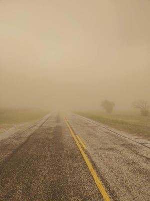 Visibility was cut to almost zero by dust that was kicked up by late afternoon storms across Runnels County. The conditions contributed to 2 collissions in Rowena.