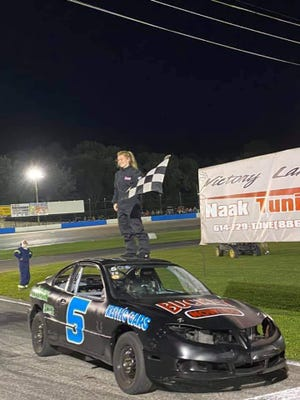 Tabitha Stuber became the first female in the 67-year history of Midvale Speedway to win a season and points championship as she claimed the Trophy Stock Division. Photo courtesy from John Chapman's Facebook page