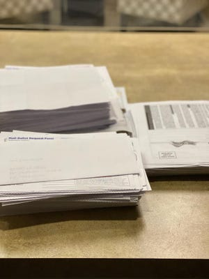 Voter registrations and ballot by mail applications for the November general election received by the Batrop County Elections Department. The office said it has seen a big increase in applications for mail-in ballots. Ballots will begin being mailed to voters On Oct. 2.