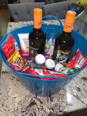 A look at some of the baskets posted on the Wine during Quarantine FaceBook page.