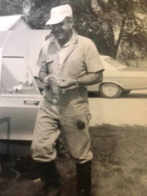 "Donald ""Doc"" Reeder on a farm call in the 1960s."