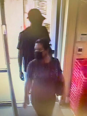 This photo shows a couple involved in the robbery on Sept. 7 of the Family Dollar store in Greensburg. Hutchinson police believe the same couple may have robbed the Subway restaurant on Main Street on Sept. 6.