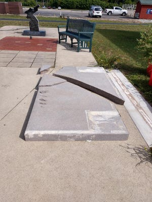 A monument at the Denny Craycraft Veterans Freedom Park in Belding was damaged on Aug. 28 due to wind from storms in the area.