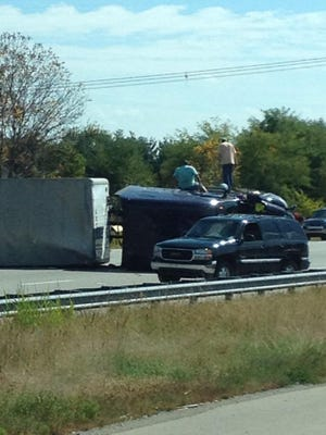 A semi rollover  closed down northbound I-65 north of I-865 Sunday.