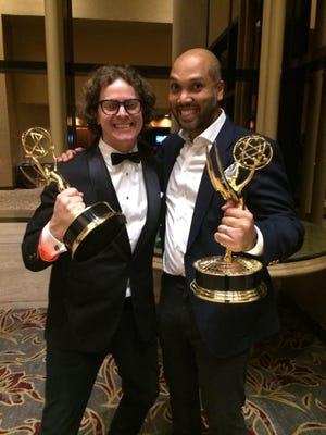 "Brandon Oldenburg and Limbert Fabian accept Daytime Emmy awards for ""Silent."""
