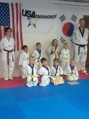Little Dragons instructors and students are Autumn Polum, front row from left, David Vargas, Keahna Finnessy, Ryker Gibson; Brooke Decker, back row from left, Mateo Ramos, Sam Zurawski, Sullivan Gibson, Addisyn Olson and Master Stephen Decker.
