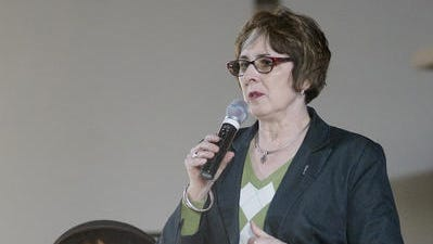 State Sen. Judy Emmons, R-Sheridan, speaks at a forum in Livonia in April 2015. Emmons will lead another event on human trafficking awareness Thursday morning in Livonia.