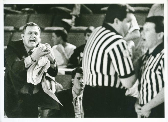 Longtime Oklahoma boys basketball coach Dub Raper died Sunday. He was 83. STAFF PHOTO BY JIM BECKEL THE OKLAHOMAN (Photo taken March 10, 1989) (Photo published March 11, 1989 in The Daily Oklahoman)