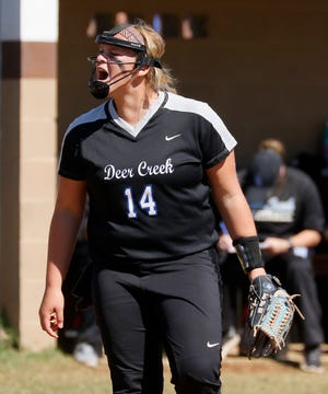 Deer Creek's Terin Ritz celebrates an out in the seventh inning of a Class 5A state softball tournament game between Deer Creek and Stillwater in Shawnee, Okla., Thursday, Oct. 11, 2018. Photo by Bryan Terry, The Oklahoman