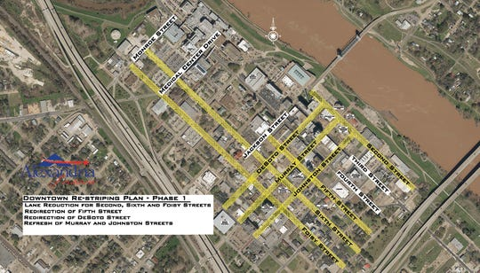 A map of streets affected by the city of Alexandria's plan to create more parking for a downtown community college campus.