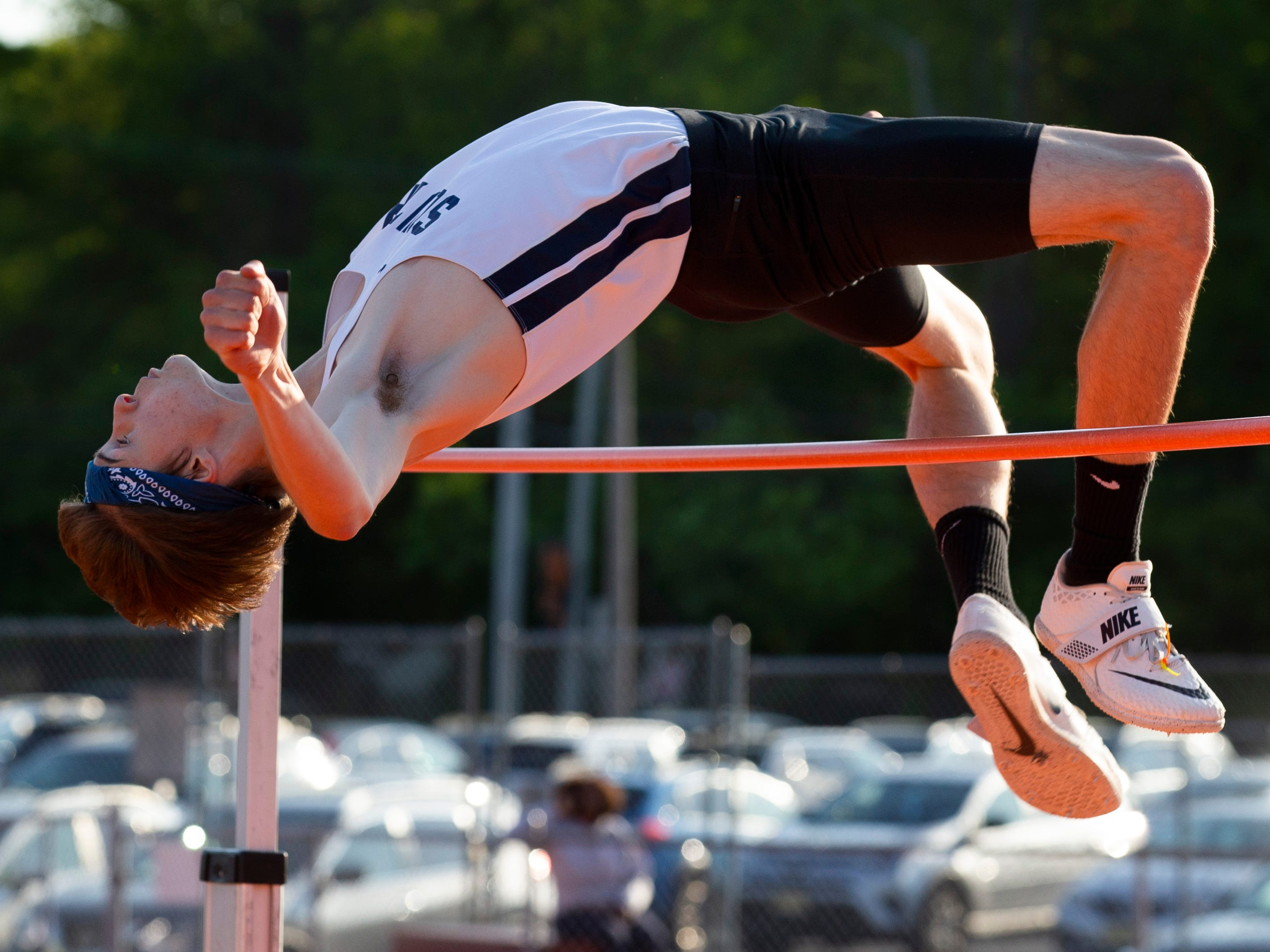 Middletown South's Mark Anselmi competes in high jump at the Monmouth County Track Championship in Middletown on May 8, 2019