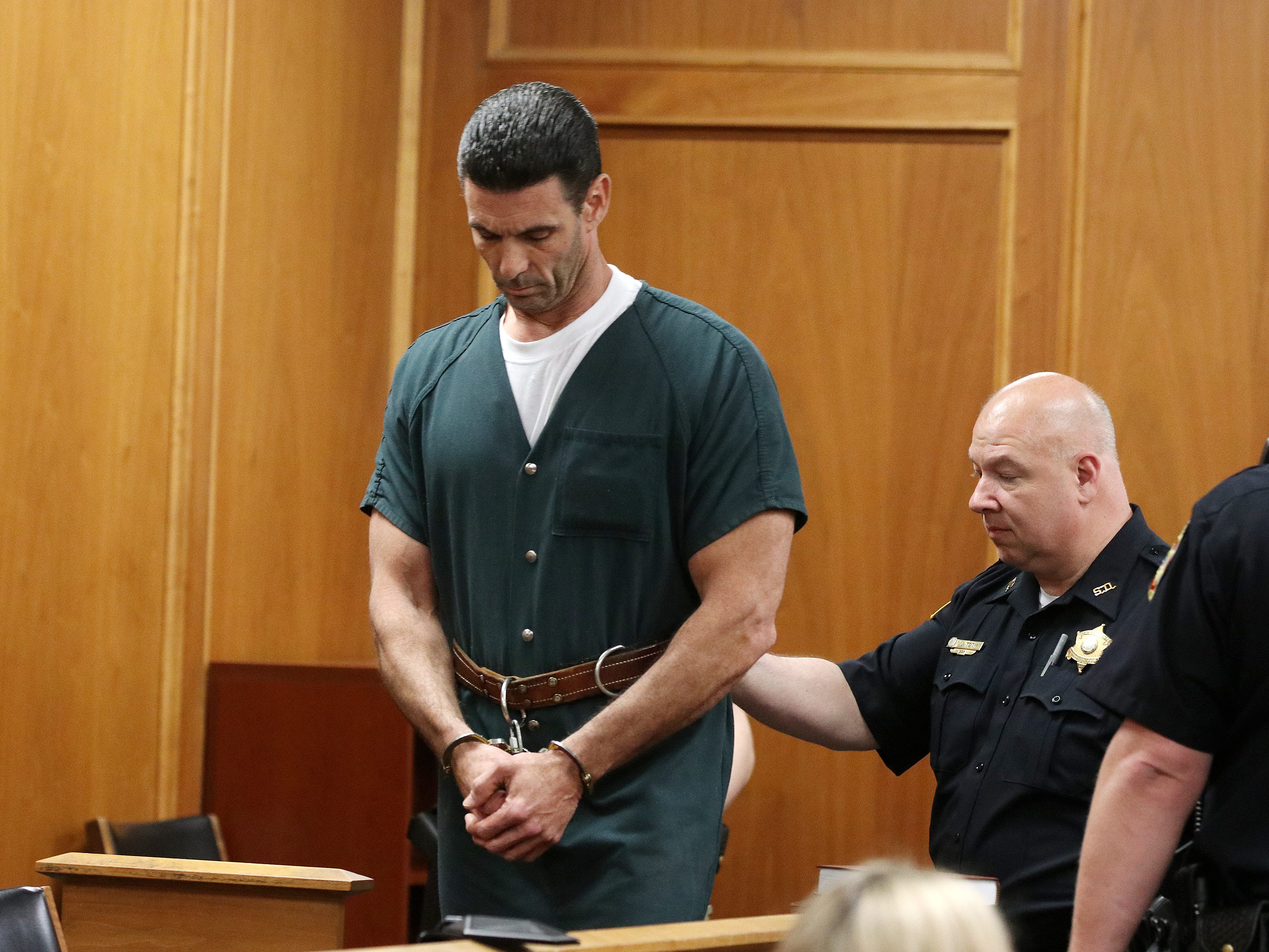 """James Mainello, who is charged in the home-invasion robbery of former """"Real Housewives of New Jersey'' star Dina Manzo and her then-fiance at their Holmdel townhome, appears for his detention hearing before Judge James McGann at the Monmouth County Courthouse in Freehold, NJ Monday May 14, 2019."""