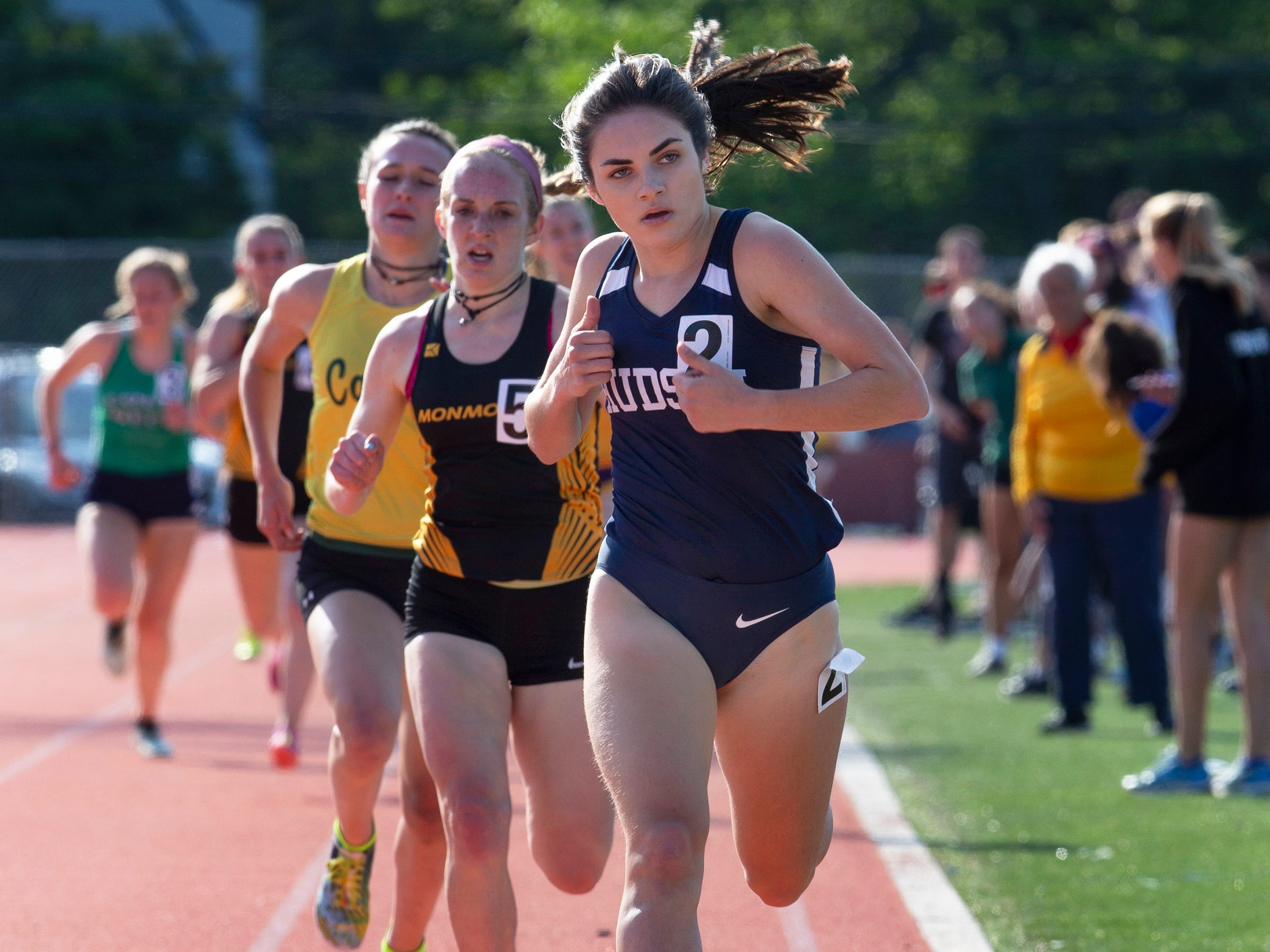 Henry Hudson's Corinna Vidal wins the fast heat of the Girls 1600 at  the Monmouth County Track Championship in Middletown on May 8, 2019