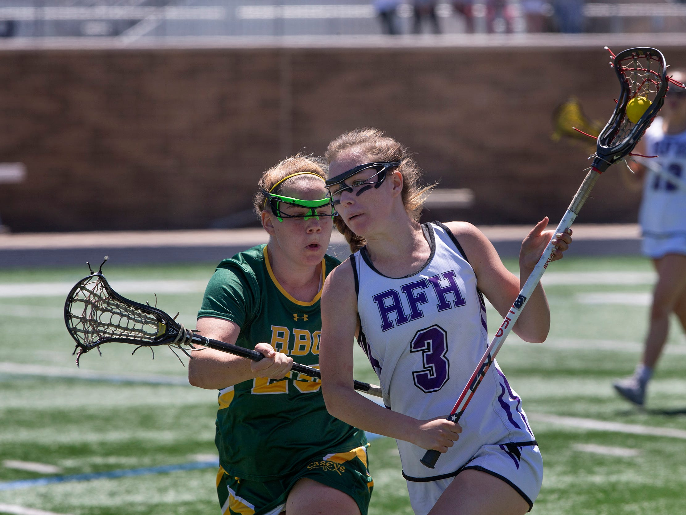 Jordan Johnson, Rumson-Fair Haven, drives towards goal during first half action, Rumson-Fair Haven defeats Red Bank Catholic in Shore Conference Girls Lacrosse final in West Long Branch, NJ on May 11, 2019.