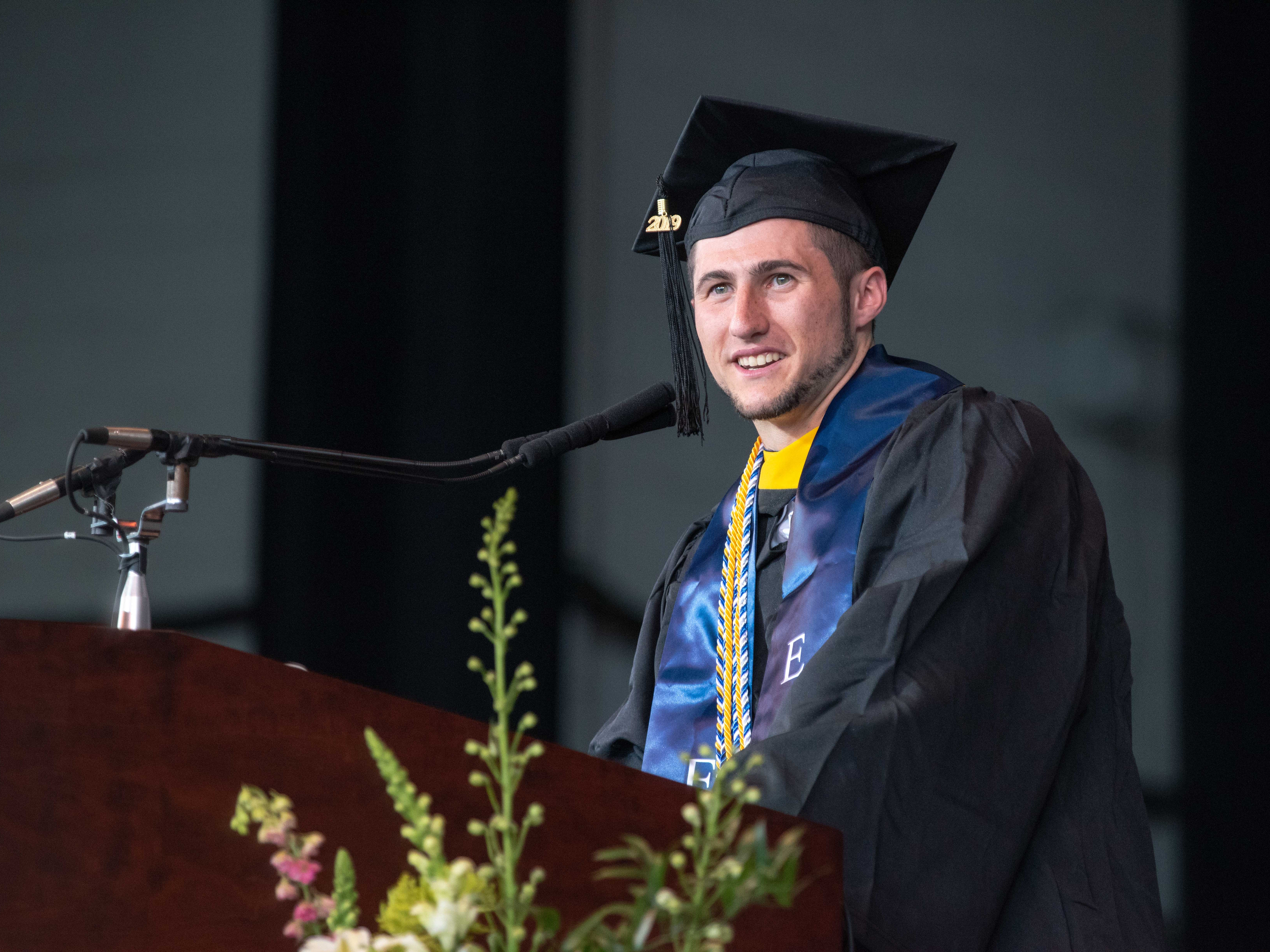 Nicholas A. Plodwick, class president, at the Monmouth University undergraduate commencement for the class of 2019 at PNC Bank Arts Center, Holmdel, on May 15, 2019.
