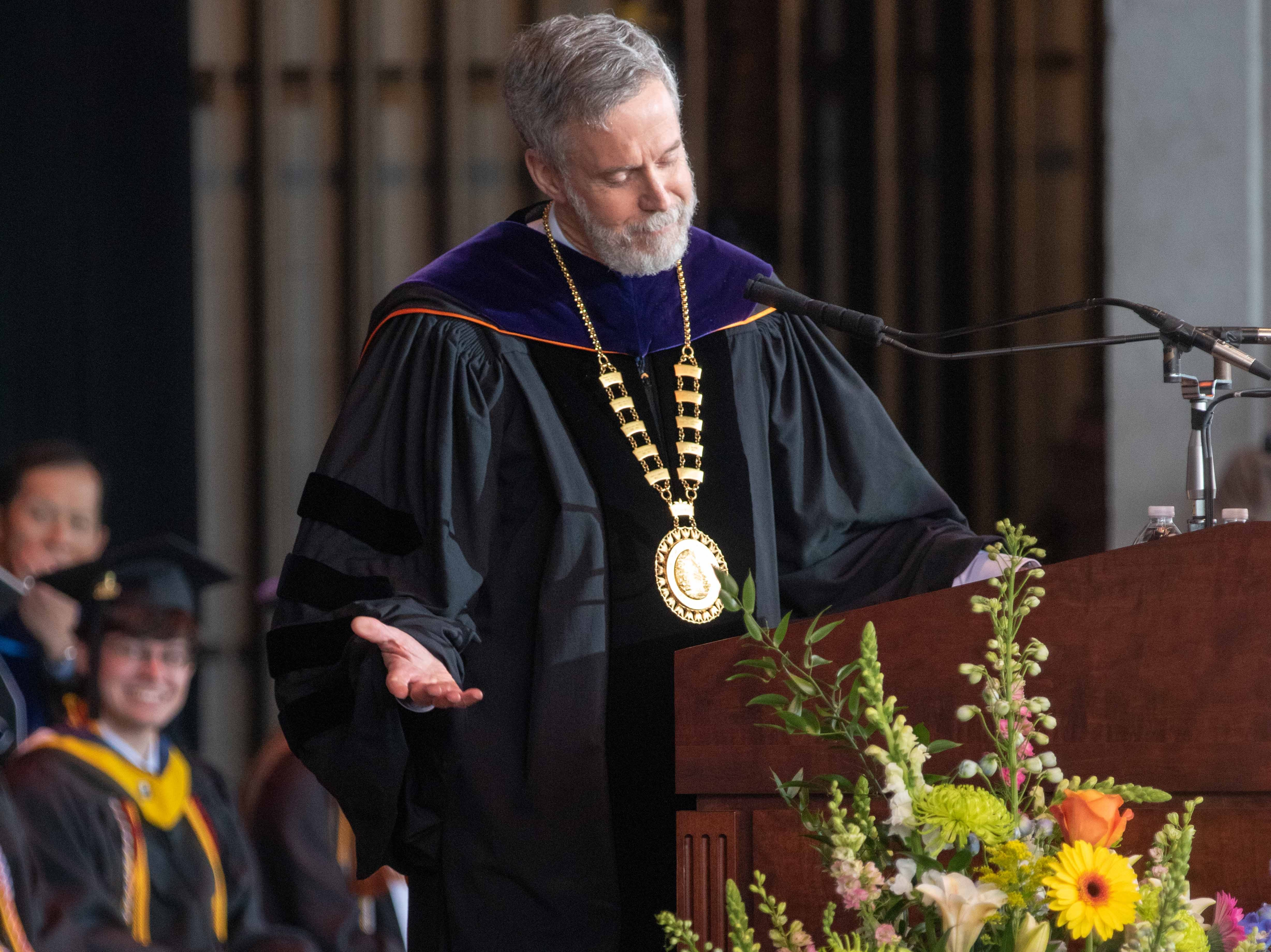 Outgoing Monmouth University president  Grey J. Dimenna speaks at the Monmouth University undergraduate commencement for the class of 2019 at PNC Bank Arts Center, Holmdel, on May 15, 2019.