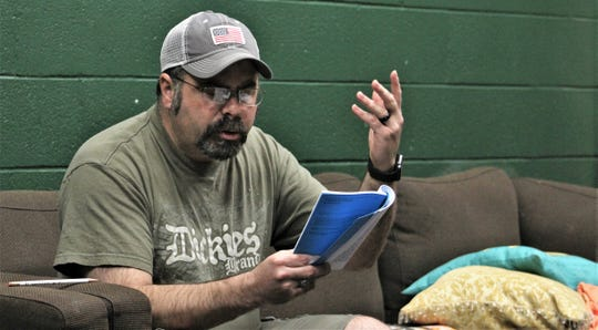 "Doug Jeter, who graduated Saturday from McMurry University, was back on campus Tuesday to read his part in ""I Ought to be in Pictures,"" which opens in June."