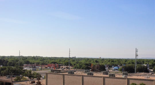 The rise in terrain in central Abilene, from left to right is subtle but visible from the fifth floor of the former Chase Bank building, where the Abilene Reporter-News news and advertising staff work. McMurry's Radford Auditorium can be seen in the center.