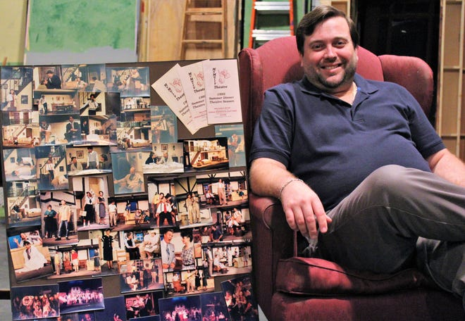 """Kerry Goff, visiting professor in theater and a McMurry University graduate, is reviving summer productions at his alma mater. He found a poster from the 1992 summer season, when McMurry presented """"Oliver,"""" """"George Washington Slept Here"""" and """"Broadway Bound."""" Performers that summer included George Levesque, Barry Smoot, Doug LoPachin and Goff's future wife, Ashleigh, who was 10 and in """"Oliver."""""""