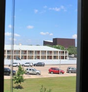 The back side of Civic Plaza Hotel is seen in this view of the Abilene Convention Center from a west-facing second-floor meeting room at City Hall.