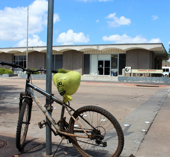 "Bikes are parked at City Light Community Ministries as lunch serving begins Wednesday. First Baptist Church has plans to ""re-vision"" its ministry at First Christian Church property it has purchased."