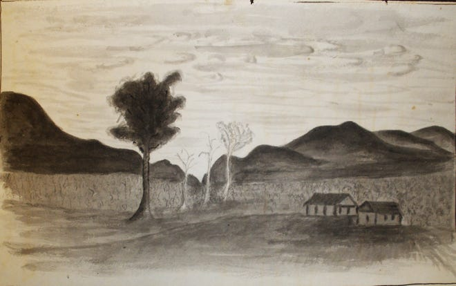 William Blanding's pencil sketch of the Samuel Davidson place in Bee Tree, 1828, is part of the Blanding Papers, Rare Book, Manuscript, and Special Collections Library, Duke University.