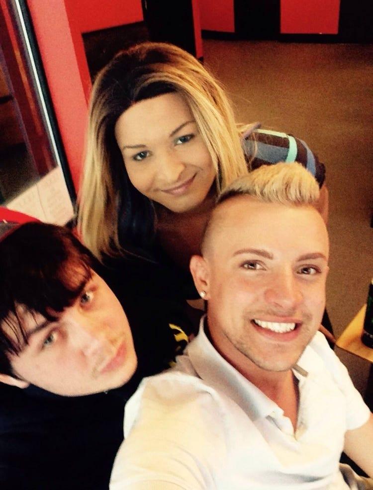 Josie Berrios, center, with friends, James and Robbie Emery.