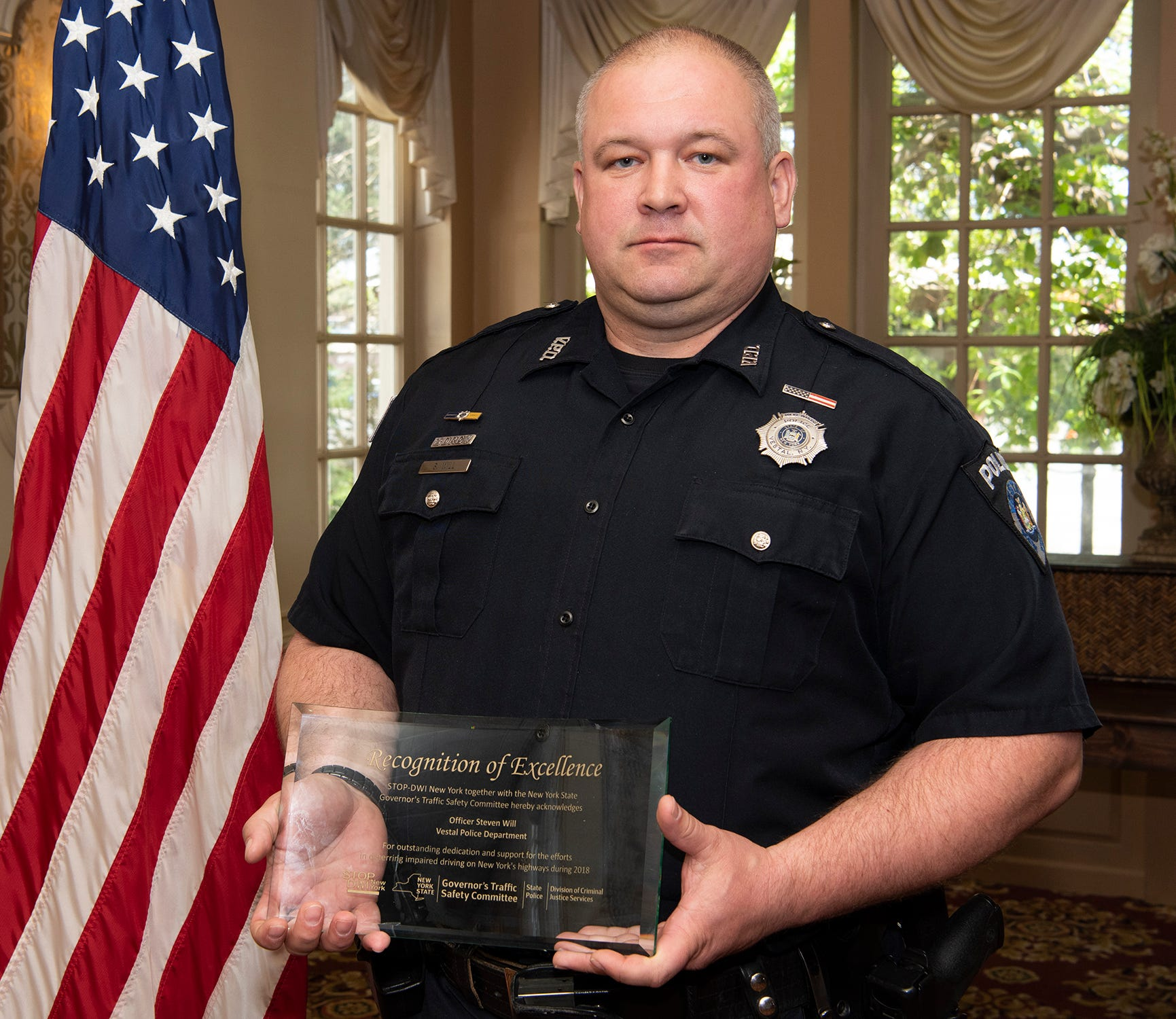 Vestal Police Officer Steve Will received the Recognition of Excellence Award from New York Stop DWI and New York State Governor's Traffic Safety Committee on May 8, 2019.