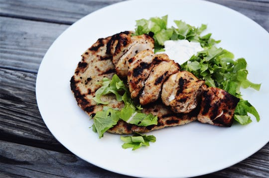 Hone your grilling skills by trying this basic chicken skewers recipe served on flatbread that also takes a spin on the grates.