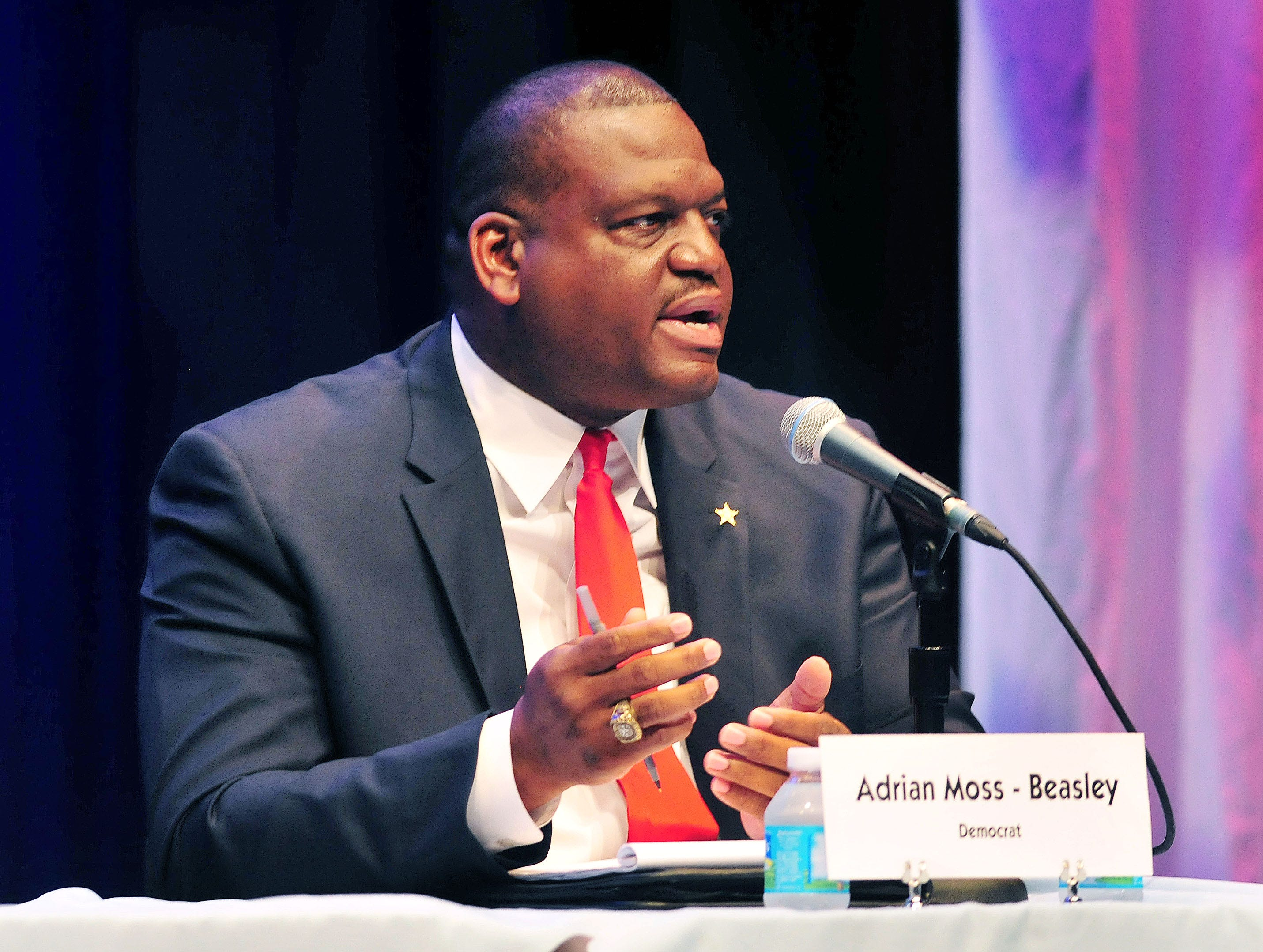 Adrian Moss-Beasley, democrat,  during the candidates forum held Thursday nights night at the BCC Cocoa campus Simpkins Fine Art Center.