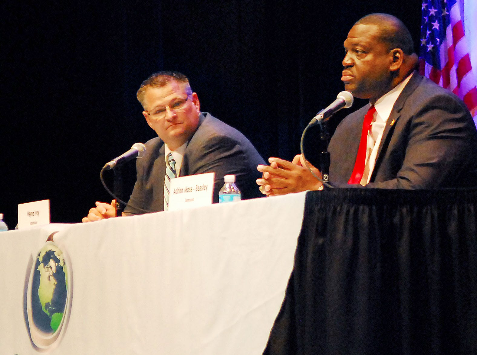 Candidates Wayne Ivey, republican, and Adrian Moss-Beasley, democrat,  during the candidates forum held Thursday nights night at the BCC Cocoa campus Simpkins Fine Art Center.