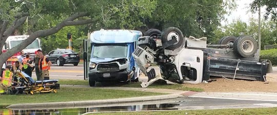 One person was transported to a hospital following a traffic crash that involved a transport bus and a dump truck in Merritt Island May 14, 2019.