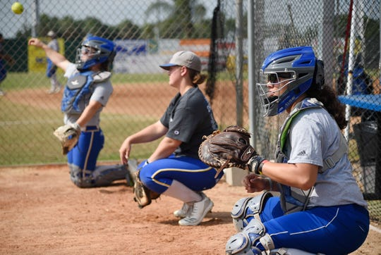 The Texas A&M-Kingsville softball team's catchers practice, Tuesday, May 12, 2019, in Kingsville.